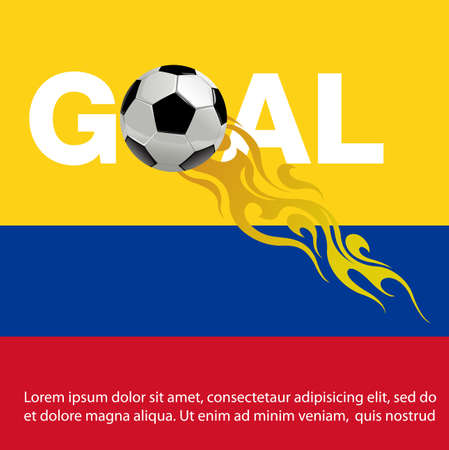 Vector illustration of  Football with fire on columbia Flag background Фото со стока - 104513414
