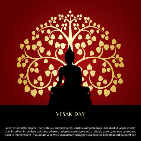 Vesak day background with Buddha sign and Bodhi leaf Tree vector design