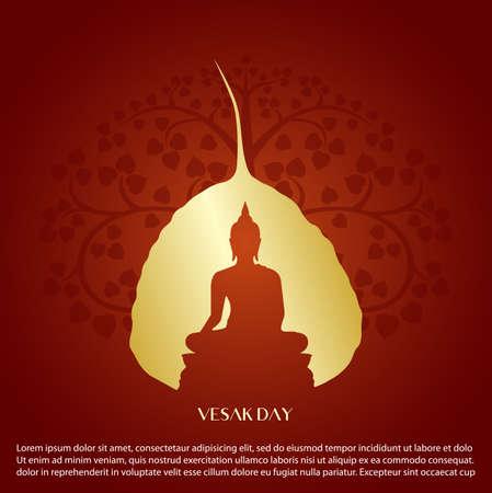 Signe de Bouddha et conception de vecteur arbre feuille Bodhi.