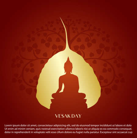 Signo de Buda y diseño de vector de árbol de hoja de Bodhi.