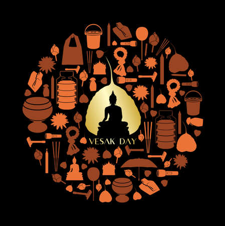 Vesak day background with Buddhist icon vector design Фото со стока - 105211825