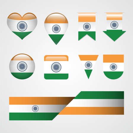 India Flag Icon Set Illustration