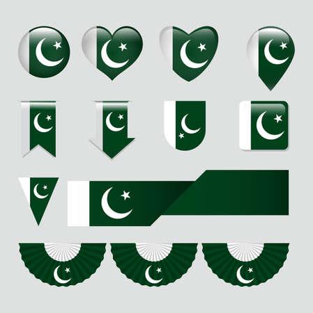 Pakistan Flag Icon Set Иллюстрация