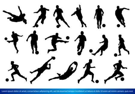 Een set van voetballers silhouetten Vector Illustratie