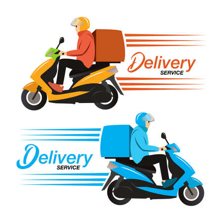 Delivery service ride scooter motorcycle. Flat design vector illustration.