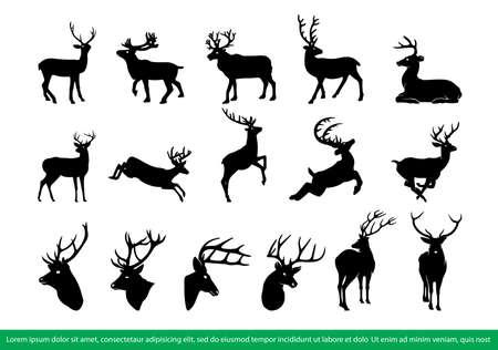 Deer silhouette vector set. Deer silhouette collection. Иллюстрация