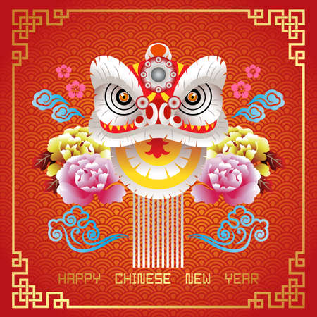 Happy Chinese New Year Greeting Card. Vector Illustration for Chinese New Year Banner Фото со стока - 115587181