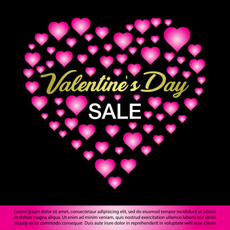 valentines day sale banner. Vector illustration. Фото со стока - 119048152