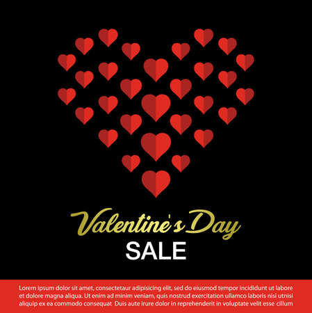 valentines day sale banner. Vector illustration. Фото со стока - 119048153