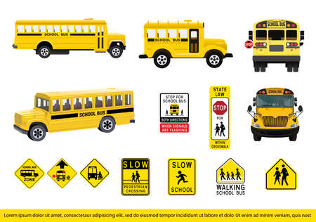 Vector Ilustration of School Bus Set. collection of school bus and signage. Ilustração
