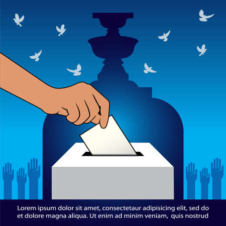Thai General Election  Vector Illustration, Thailand Voting concept banner,  Hand holding ballot paper for election vote – Thailand