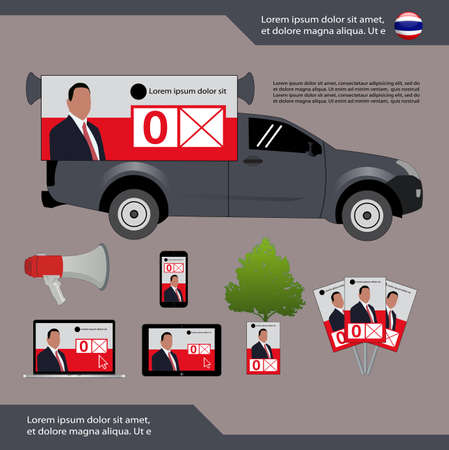 political party media campaign Vector Illustration, Thai General Election  - Thailand