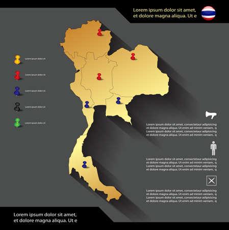 Voting concept – Thailand map with push pins, Thai General Election  information Illusztráció