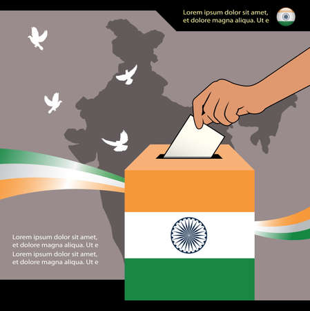 India Voting concept banner, Hand holding ballot paper for election vote and ballot box  with national flag Ilustração