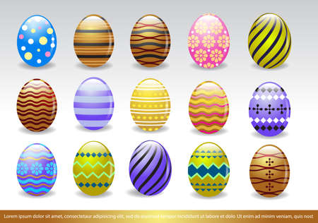 Vector illustration of Easter eggs collection, different design of easter eggs, colorful easter eggs