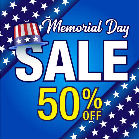 Vector Illustration for memorial day sale banner