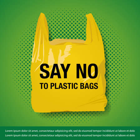 Vector Illustration for No Plastic Bag banner