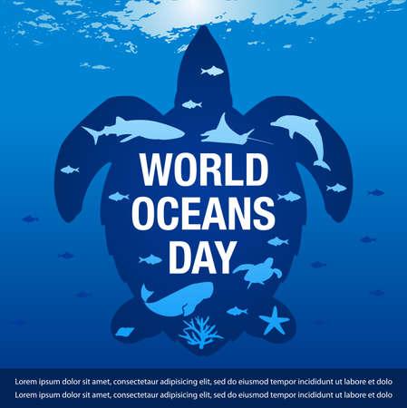 Vector Illustration for  world ocean day banner