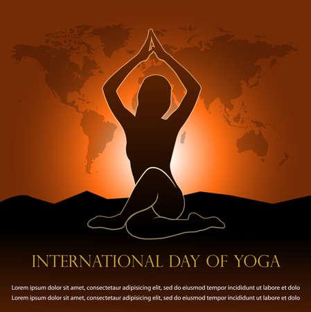 Vector Illustration for  international day of yoga banner Illusztráció