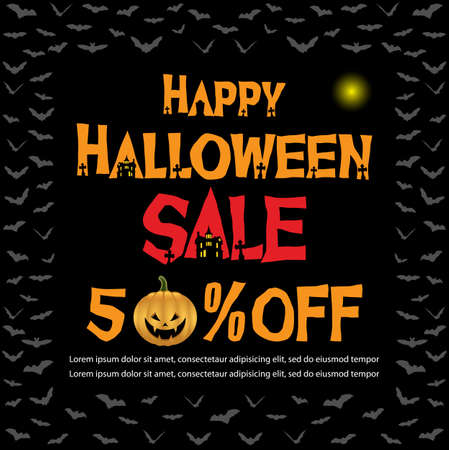Vector Illustration for Halloween Sale Banner