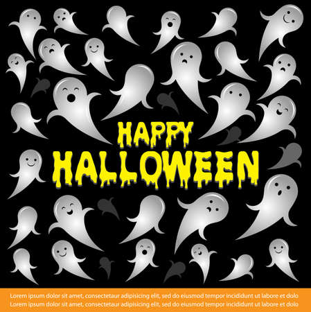 Happy Halloween vector illustration with flying ghost spirit and text. Happy halloween poster with ghost.Halloween banner design vector.