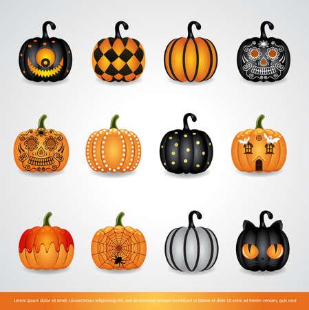 Set of Halloween Pumpkins.Halloween Pumpkin icon set vector illustration. Illusztráció