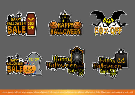 Halloween badge and label sticker collection. Halloween Party, Happy Halloween for sticker, label, banner. Vector illustration