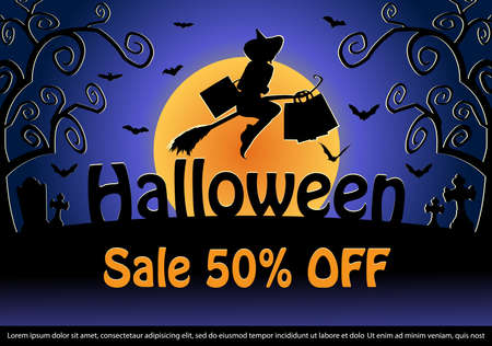 Halloween Sale Web Banner template.Halloween Sale poster. vector illustration