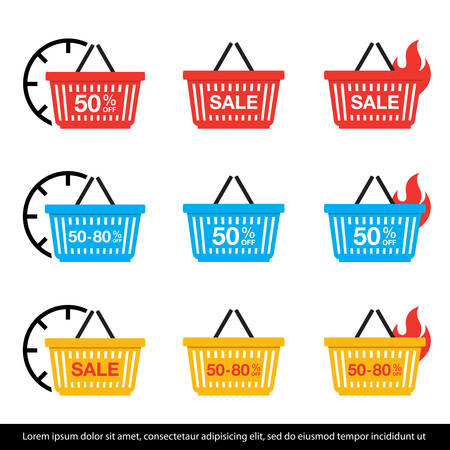 Sale discount icons. Shopping Basket icon set. Vector Illustration