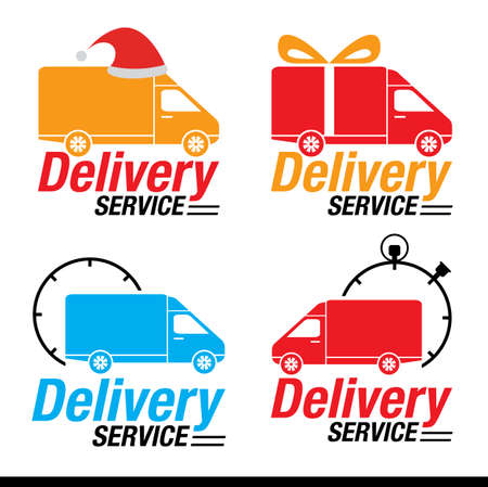 Delivery Car icon set, The Holiday Season Delivery Symbol, Vector illustration