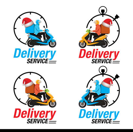 Christmas and New year Delivery symbol, Delivery man riding motorcycle icon symbol for Christmas and New year, Vector illustration