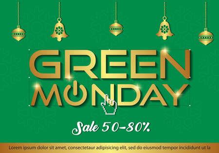 Green Monday Sale background. Green Monday sale banner design. vector illustration Illusztráció