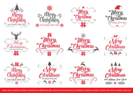 Set of Merry Christmas and Happy New Year Decorative Badges for Greetings Cards or Invitations. Vector Illustration