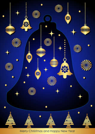 Merry Christmas and Happy New Year Decorative for Greetings Cards or Invitations. Vector Illustration