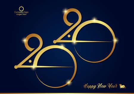 New Year 2020 Background. Year of the Rat Banner. vector illustration Illusztráció