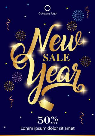 New year sale background. Sale banner template design.vector illustration