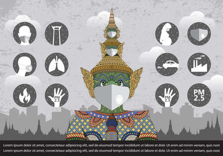 Vector Illustration of bad air pollution,PM 2.5 dust in Bangkok Thailand and pollution icon set Vectores
