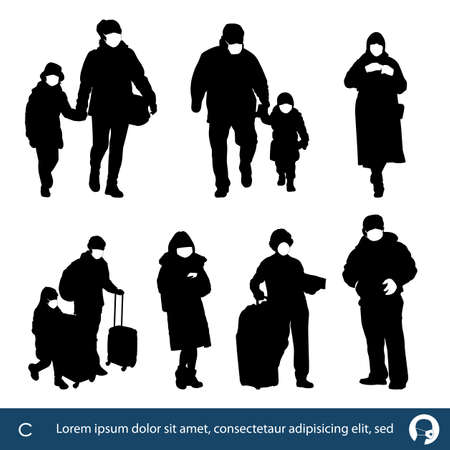 people silhouettes wearing medical masks preventing air pollution and virus , vector illustration