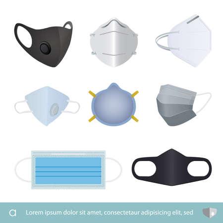 set of Protection mask, medical mask , Hospital or pollution protect face mask vector illustration