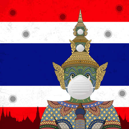 Vector Illustration of Covid-19 background with The Thai traditional giant statue wearing face mask and Thailand flag
