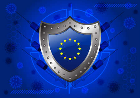 Covid-19 virus protection concept with shield and Euro flag Vector Illustration Ilustração