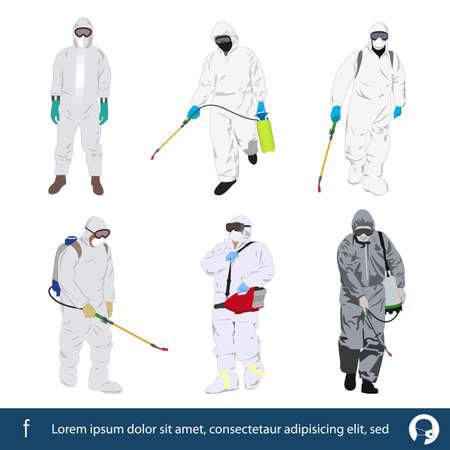 set of men in biohazard suits,protective suit, virus outbreak vector illustration Ilustração