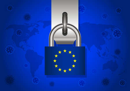 Covid-19 virus protection concept with Padlock Key and Euro flag Vector Illustration