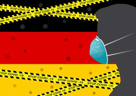 Coronavirus or Covid-19 in German Backgrond with Men wearing medical mask, Flag of German and Black & Yellow Hazard Safety Warning Stripe Tape Vector Illustration Ilustração