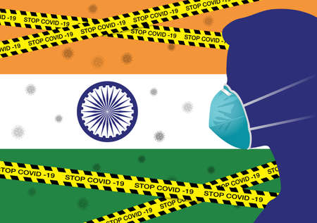 Coronavirus or Covid-19 in India Background with Men wearing medical mask, Flag of India and Black & Yellow Hazard Safety Warning Stripe Tape Vector Illustration