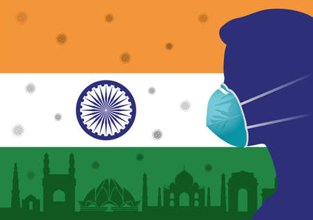 Coronavirus or Covid-19 in India Backgrond with Men wearing medical mask and Flag of India Vector Illustration