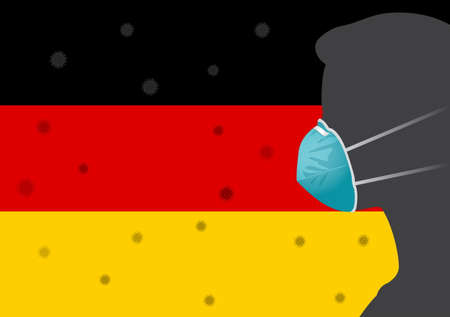 Coronavirus or Covid-19 in German Background with Men wearing medical mask and Flag of German Vector Illustration Ilustração