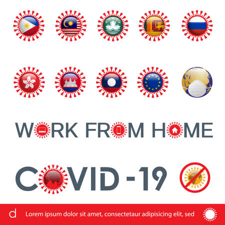 Vector Illustration of Covid-19 Icon with Flag