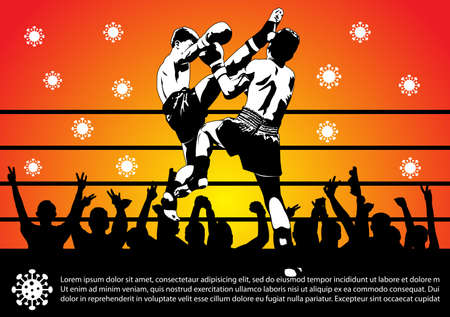 Vector Illustration Coronavirus or Covid-19  in Thailand banner with covid-19 icon, people in Boxing stadium, Thailand's Virus Cases Are Male Fans of Boxing.
