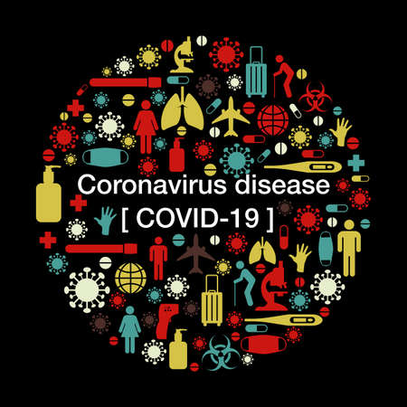 Vector Illustration of Coronavirus or Covid-19 Backgrond with medical icon